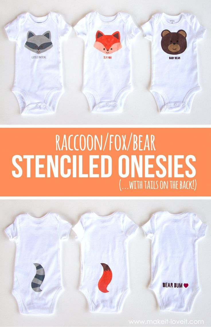 Fox, Bear & Raccoon DIY Stenciled Onesies (...with tails on the back!) | via  Make It Love It