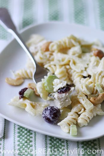 Chicken pasta salad plated...hmmm....wondering if this is the one I had at the potluck...but with spaghetti noodles? I don't remember chicken though...