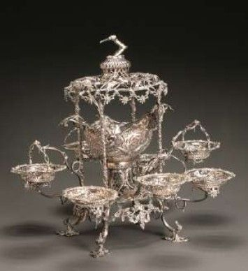 18th century George III silver epergne by Thomas Pitts, London