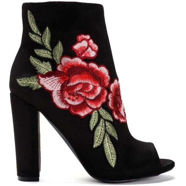 FINAL SALE- Black Floral Embroidery Booties found on Polyvore featuring shoes, boots, ankle booties, sapato, suede boots, peep toe ankle booties, black boots, block heel booties and suede booties