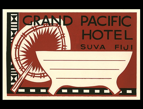 1940's luggage label luggage label from Grand Pacific Hotel - Suva, Fiji