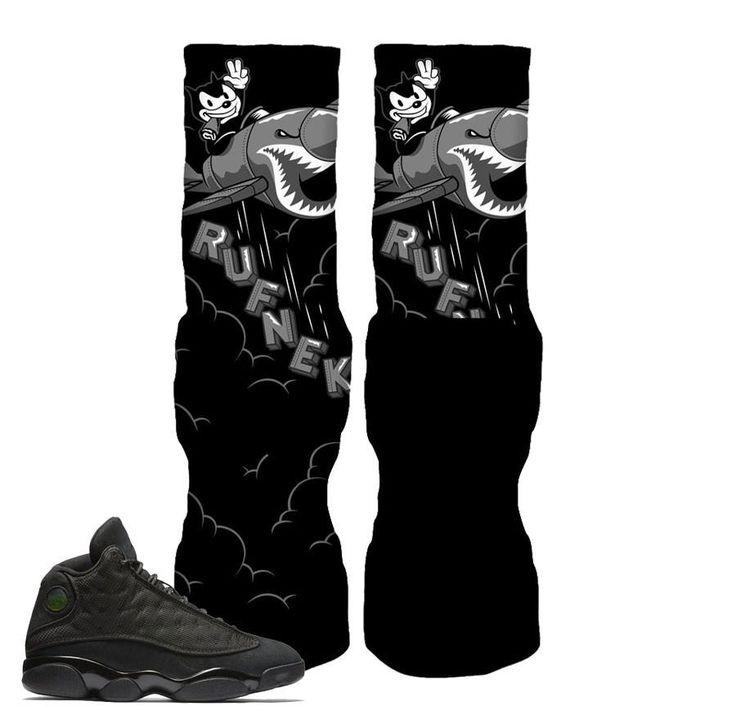 Jordan 13 Black Cat Socks - Bomber