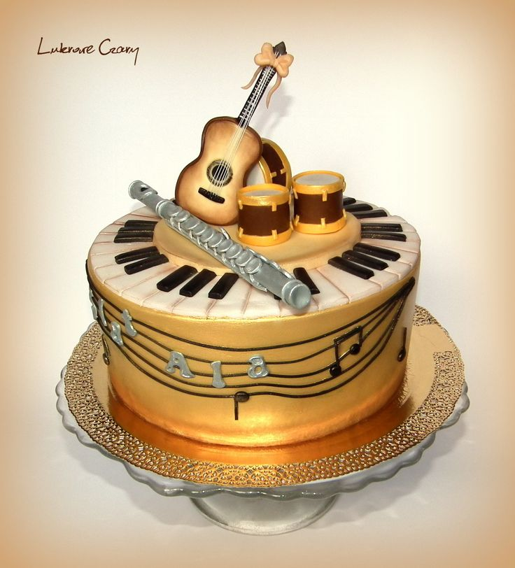 Music cake, guitar, flute, drums
