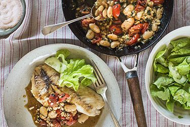 Snapper with tomato, butter beans and oregano