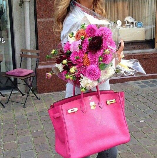 Hermes Bag + Lovely Pink Flowers