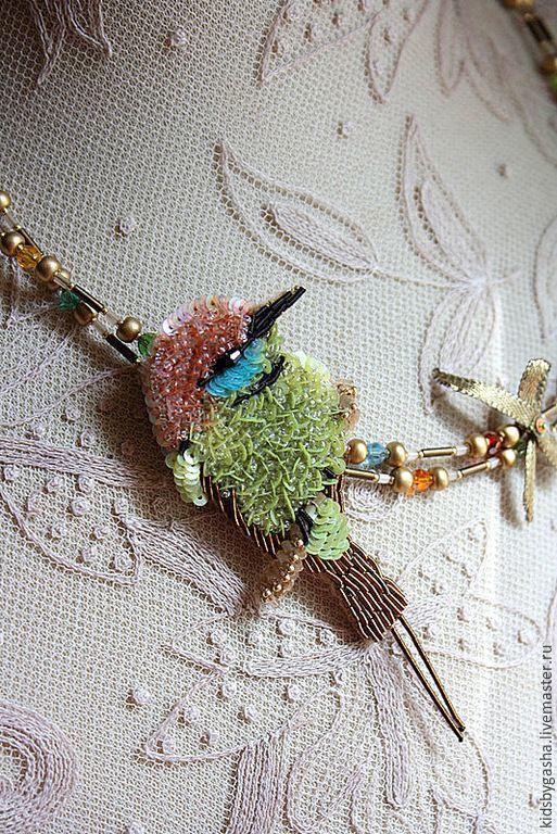 Купить Брошь KB15012 - салатовый, бирюзовый, оранжевый, птичка, брошь, бусы, детское украшение