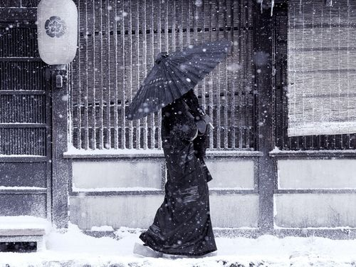 : Photos, Winter, Geishas, Snow, Art, Wallpaper, Japanese, Black