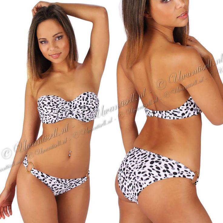 Bandeau-Push-Up-Bikini: Bikini met Stippen Print