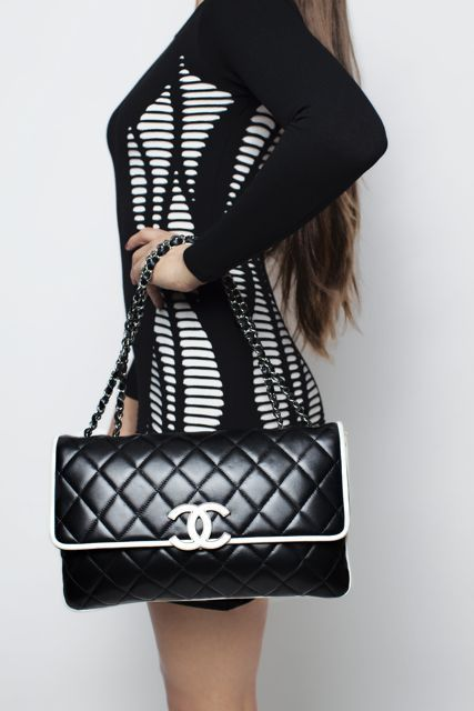 $5400 Chanel Black & White Cruise Maxi Flap Bag Available on House of Carver