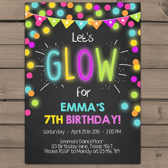 Neon Glow Party invitation Glow birthday door Anietillustration