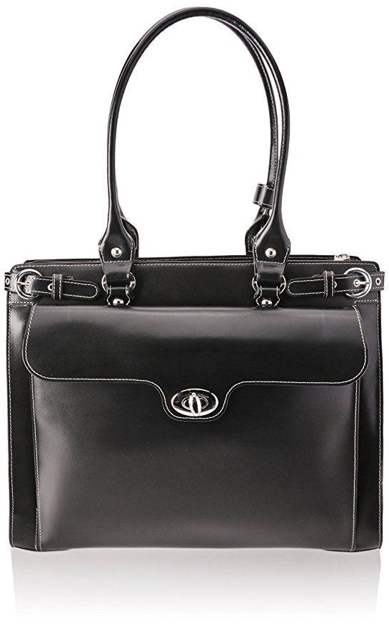 McKleinUSA WINNETKA 94835 Black Leather Ladies' Briefcase w/ Removable Sleeve