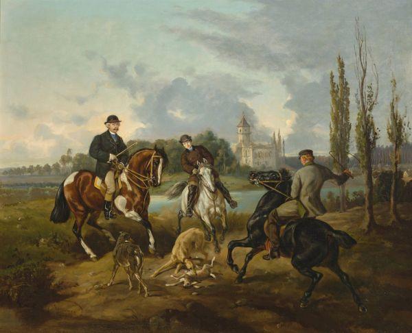 Scena z polowania w Radziejowicach - Juliusz Kossak