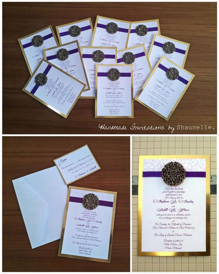 Filigree Medallion Wedding invitation. Gold single panel - double layer invitation featuring a simple purple satin ribbon and rich antique gold filigree medallion accent. #handmade #weddinginvitations #purple #gold #Shaunelleramesar #stationery #filigree #handmadeinvitations