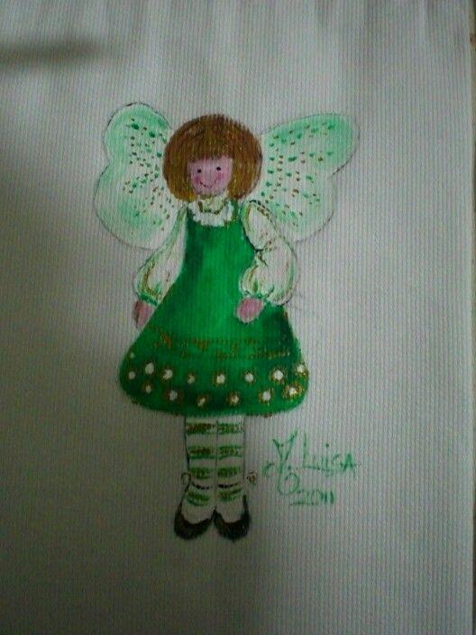 Sacchetto di stoffa con angioletto verde