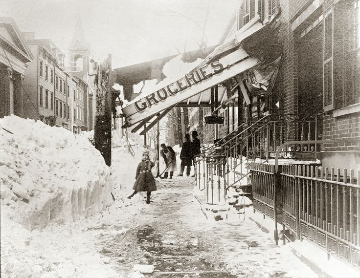 Blizzard in NYC during the Gilded Age c.1888 Location: Looking west on 11th Street from Waverly Place. ~ {cwl} ~ (Original Image: NYHS)