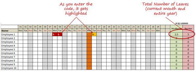Die besten 25+ Attendance sheet in excel Ideen auf Pinterest - attendance sheet for employees