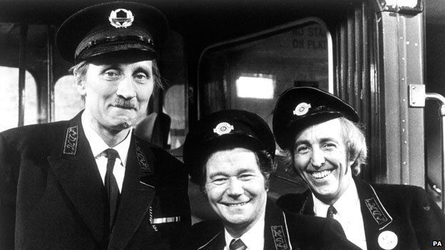 Stephen Lewis with Reg Varney and Bob Grant in On the Buses.Stan- you lecherous moron!