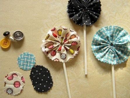 Flores de tela para cupcakes4