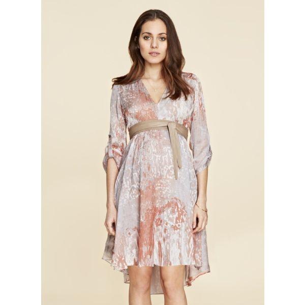 Isabella Oliver Lexington Silk Maternity Dress -Metallic | Maternity Dresses