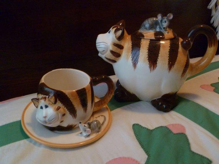 Cat Tea Pot and matching Cup & saucer both NIB