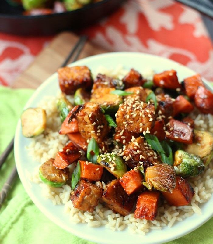 Sweet Potato & Brussels Sprout Stir-Fry with Smoky Black Pepper Tempeh