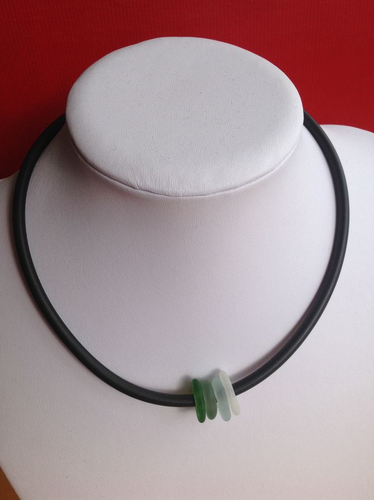 Sea glass & rubber from Fossik Jewellery.