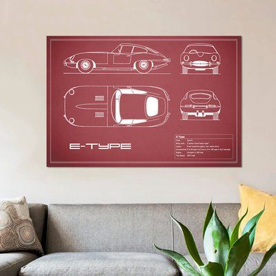 """East Urban Home 'Jaguar E-Type Series 1 Coupe' Graphic Art Print on Canvas in Maroon Size: 26"""" H x 40"""" W x 0.75"""" D"""