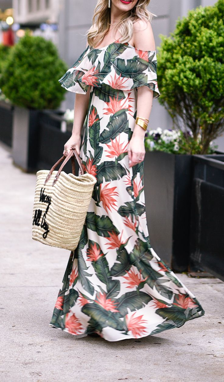 summer outfit ideas | palm tree print dress