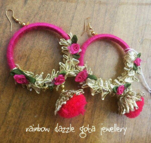 Handmade Earrings in pink | gota jewellery | jhumkay