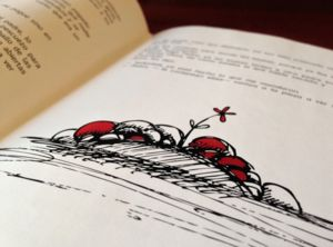 Book Illustration, Black, White and red