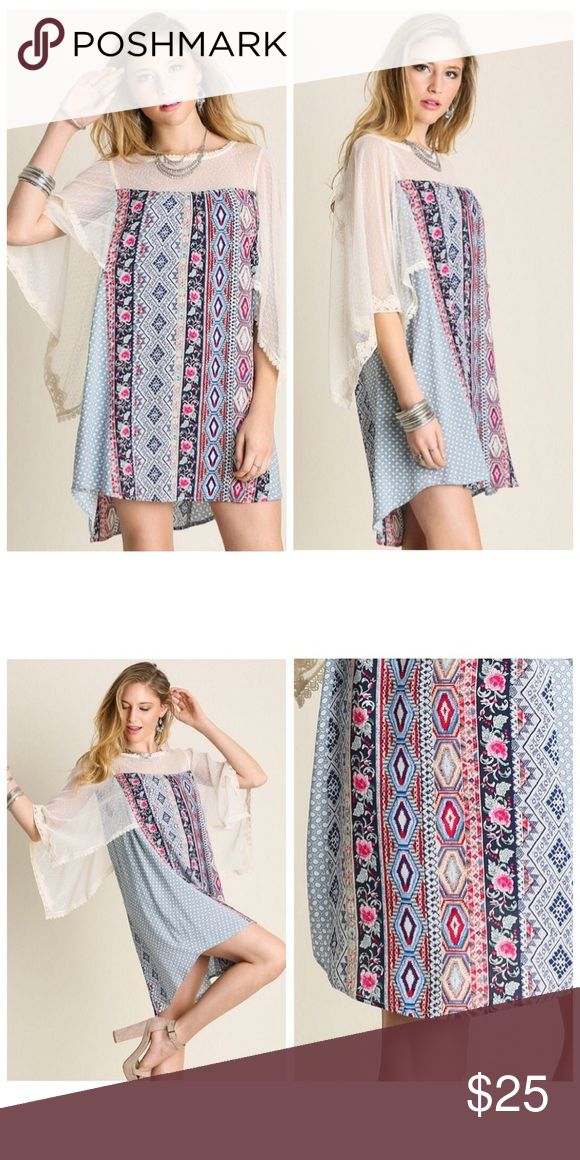 Bohemian Pattern Lace Butterfly Sleeve Dress S M L Bohemian pattern lace butterfly sleeve tunic dress, loose fit style , Available in size Small, Medium, or Large.  ARRIVING MONDAY/SHIPPING TUESDAY OF NEXT WEEK!  No trades, price firm unless bundled.  BUNDLE 3 OR MORE ITEMS FOR 15% OFF!!! Boutique Dresses Mini
