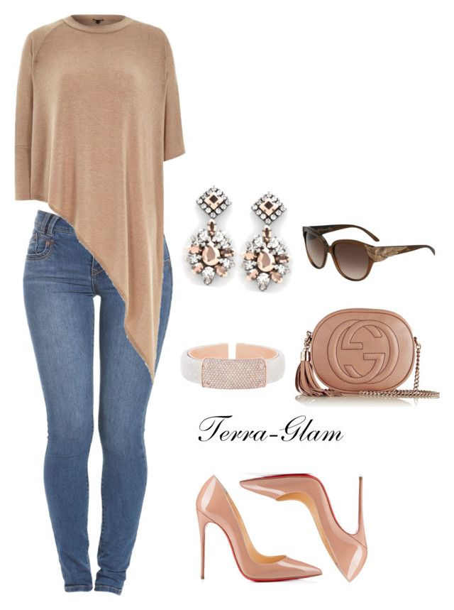 """""""Chic Street Style"""" by terra-glam ❤ liked on Polyvore featuring Gucci, Christian Louboutin, Darya London, River Island, Christian Dior and Henri Bendel"""