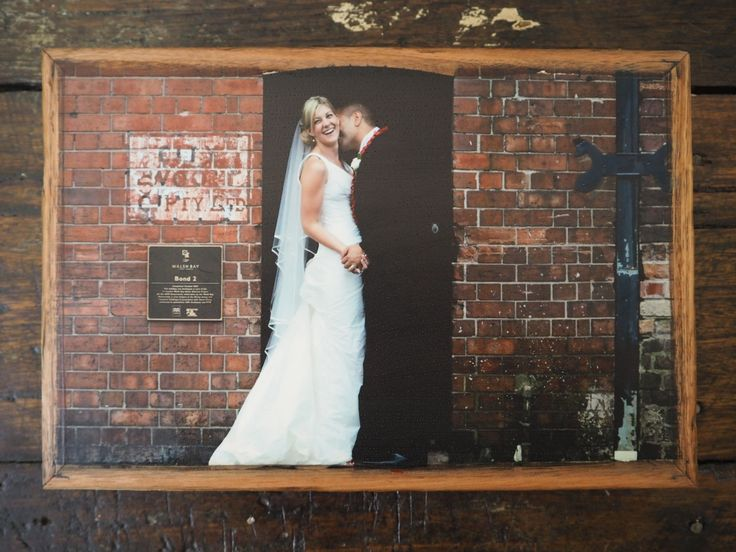 The beautiful couple, Jo and Tai, on their wedding day. Photograph printed on stone. Made in Melbourne by Imogen Stone.