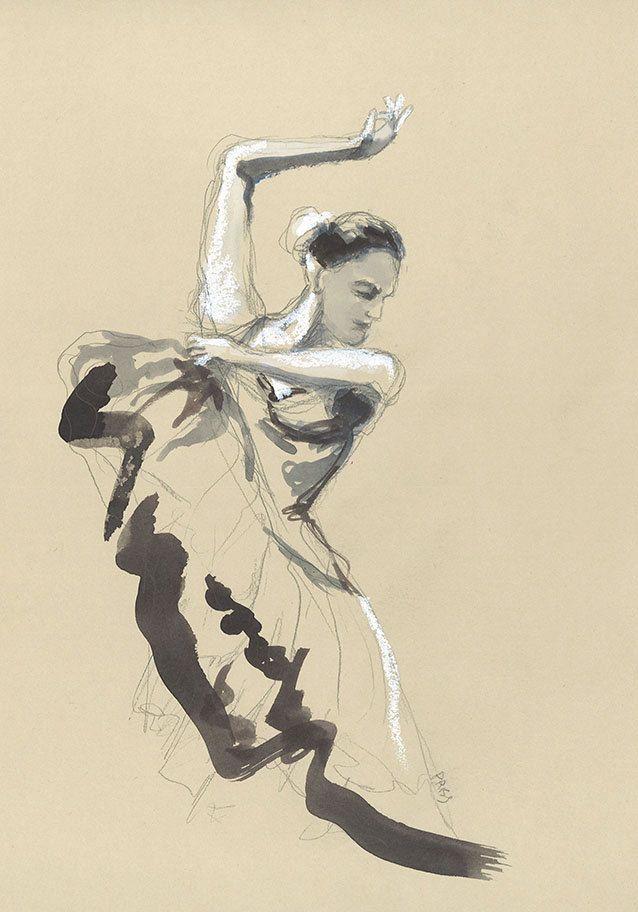 Dessin Danseuse de flamenco, aquarelle, pastel gras de la boutique EmmanuellePriss sur Etsy