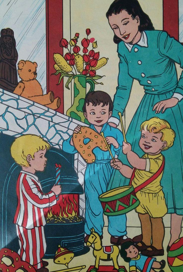 Vroeger werden de cadeautjes op een Sinterklaastafel neergelegd of bij een schouw.