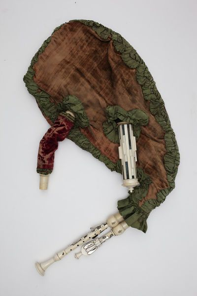 "1750 French Musette at the Victoria and Albert Museum, London - From the curators' comments: ""This type of French bagpipe was known as a musette, and was played in courtly circles from about 1670, with pieces written for it by composers like Jean Philippe Rameau (1683–1764). Together with the cornemuse, a bagpipe with a mouthpiece, it has a much softer and more flute-like sound than the more familiar Scottish version of the instrument."""