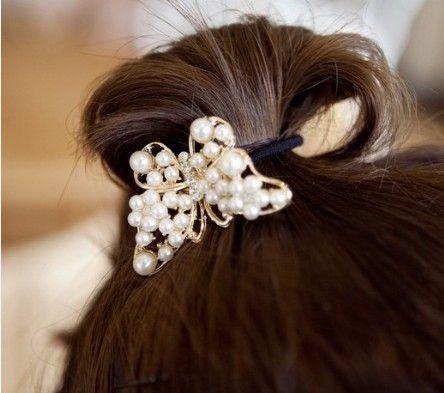 Gumka do włosów perły perłowy motyl biały hair cyrkonie EdiBazzar  cena: 6,99 zł