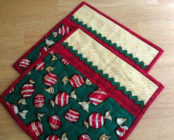 Christmas Mug Rugs, Holiday Mug Rugs, Holiday Mini Placemats, Set of Two Quilted…