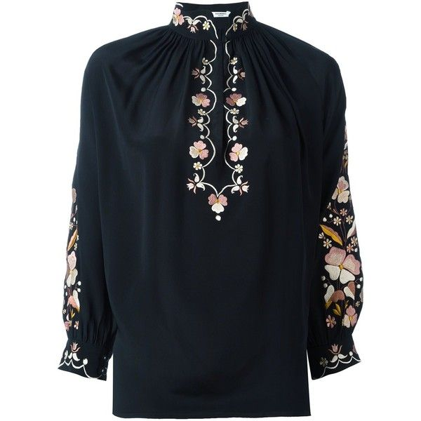 Vilshenko Hannah Blouse (£530) ❤ liked on Polyvore featuring tops, blouses, black, silk blouse and silk top