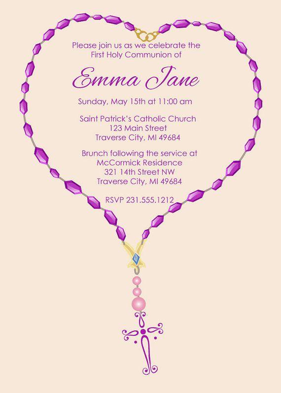 Rosary Communion Invitation for Girls | Communion ...