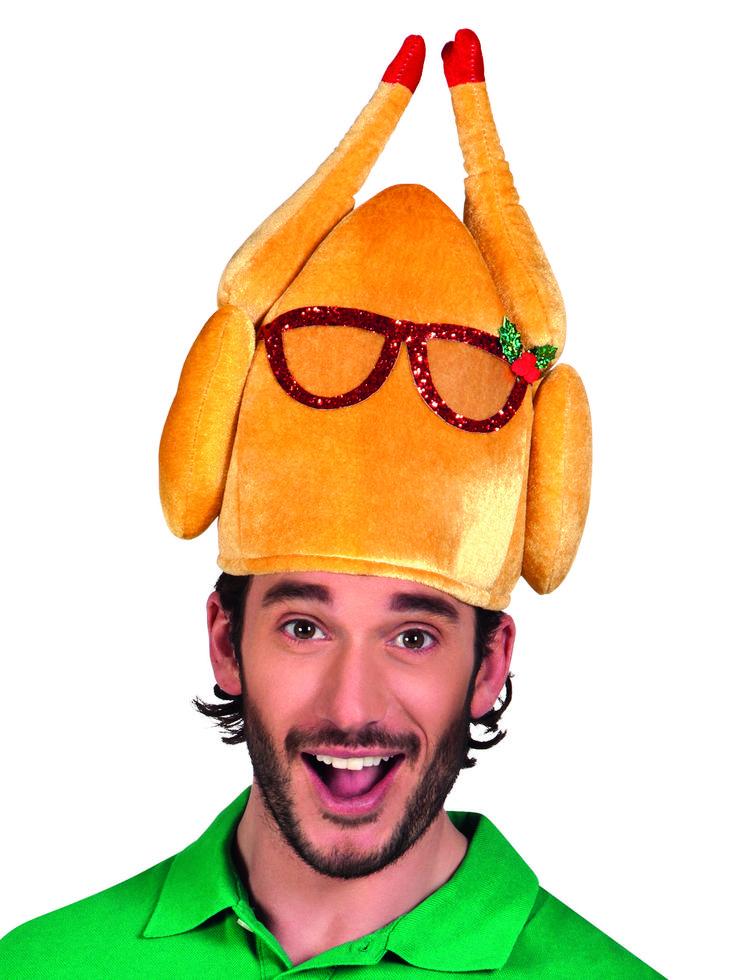 Sombrero pavo con gafas humorístico adulto Navidad