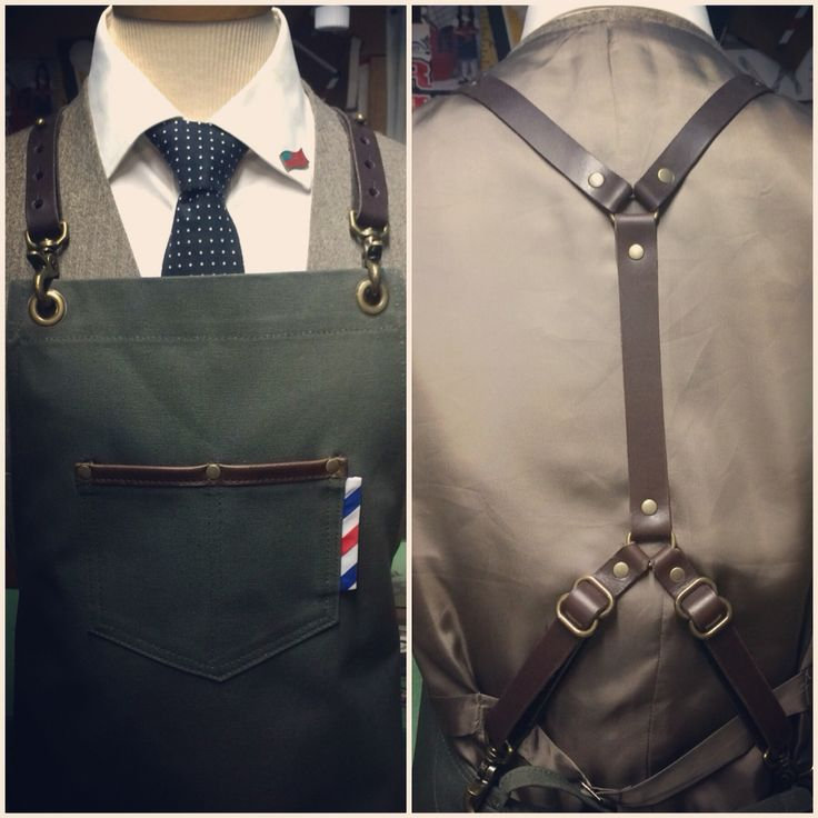 Canvas barber apron with leather harness straps #sartorandvillain#barber…