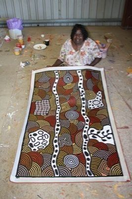 Australian Aboriginal Art - works in a wide range of media including painting on leaves, wood carving, rock carving, sculpture, ceremonial clothing and sandpainting.