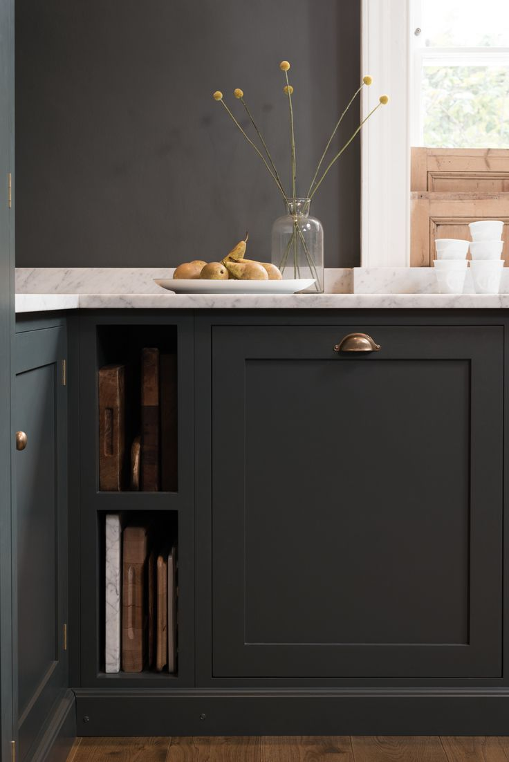 'Bella Brass' knobs and handles with our 'Flint' paint colour, the perfect combo - this warm and rich colourway with dark walls and cabinets and pale worktop.