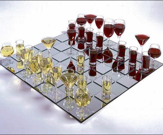 This looks like the funnest drinking game ever! But instead of chess, I'd do checkers. Maybe with jello shots?