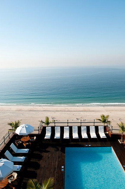 Roof top pool at the Hotel Porto Bay Rio Internacional in Copacabana, Rio de Janeiro, Brazil
