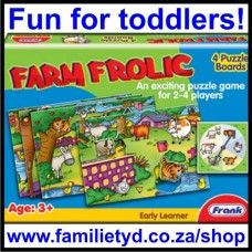 Farm Frolic game ~ An exciting puzzle game for toddlers! Spin the spinner, and be the first one to fit all 6 animal pieces to complete your farm puzzle. 2-4 players. Age: 3+ (or younger with adult guidance)