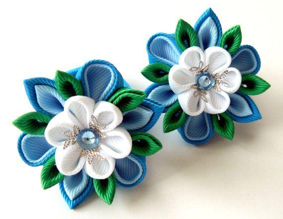 Kanzashi fabric flowers. Set of 2 ponytails . Blue white by JuLVa