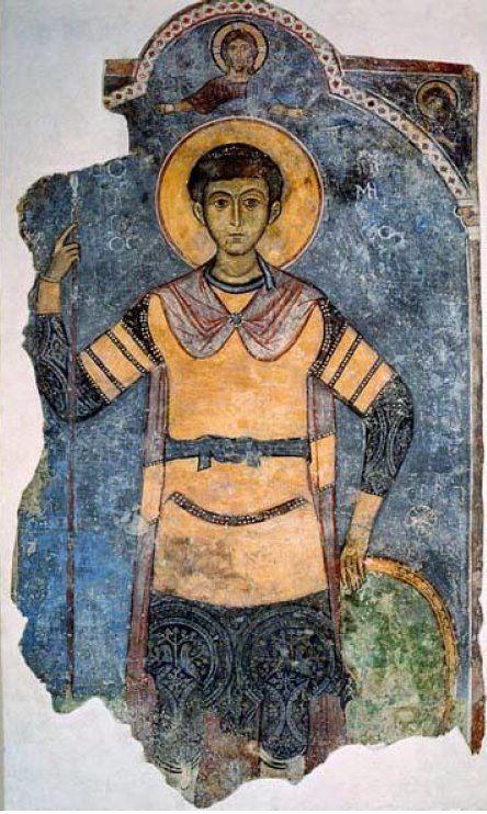 Saint Démétrios, fresque provenant de l'église de Saint-Antoine de Kellia, XIIIe siècle, ©Kykkos, musée du monastère