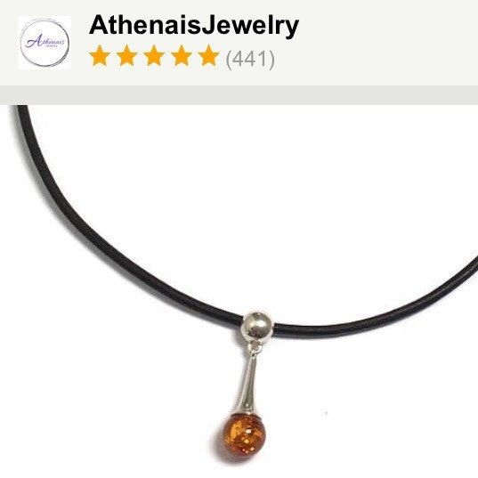 Honey amber gemstone sterling silver pendant leather choker! Perfect gift for her!